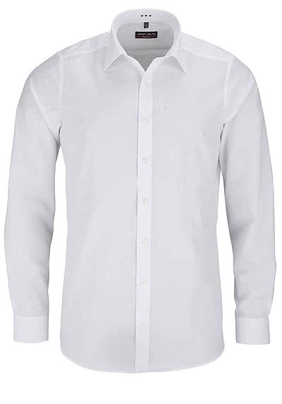 MARVELIS Body Fit Hemd Langarm New Kent Kragen weiß - Hemden Meister