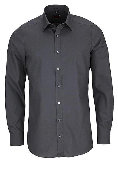 MARVELIS Body Fit Hemd Langarm New Kent Kragen graphit - Hemden Meister