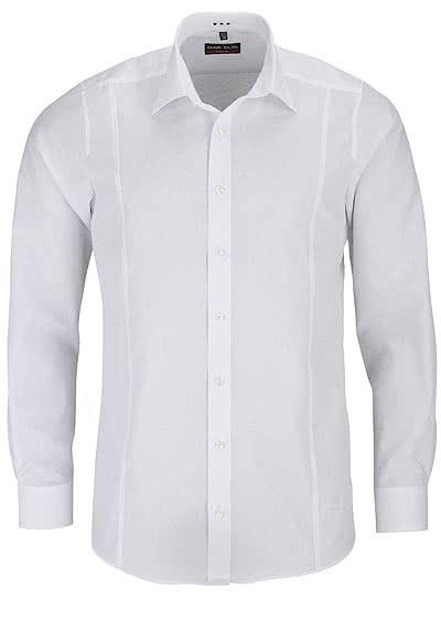 MARVELIS Body Fit Hemd mit Teilungsnaht Langarm Popeline weiß - Hemden Meister