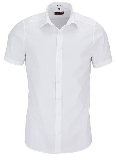 MARVELIS Body Fit Hemd Halbarm mit New Kent Kragen Popeline weiß - Hemden Meister