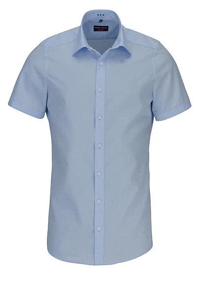 MARVELIS Body Fit Hemd Halbarm mit New Kent Kragen Popeline hellblau - Hemden Meister