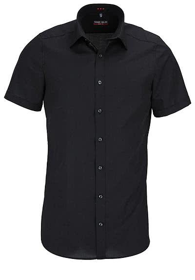 MARVELIS Body Fit Hemd Halbarm mit New Kent Kragen Popeline schwarz - Hemden Meister