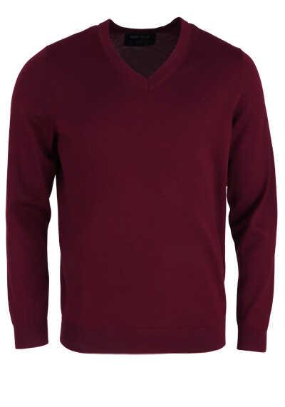 MARVELIS Pullover Langarm V-Ausschnitt aus Merino Wolle weinrot - Hemden Meister