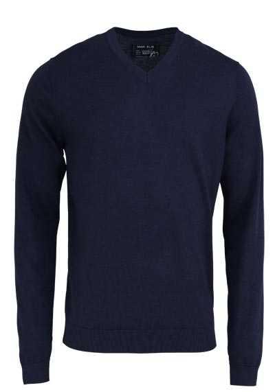 MARVELIS Pullover Langarm V-Ausschnitt aus Merino Wolle nachtblau - Hemden Meister