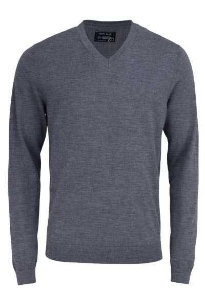 MARVELIS Pullover Langarm V-Ausschnitt aus Merino Wolle dunkelgrau - Hemden Meister