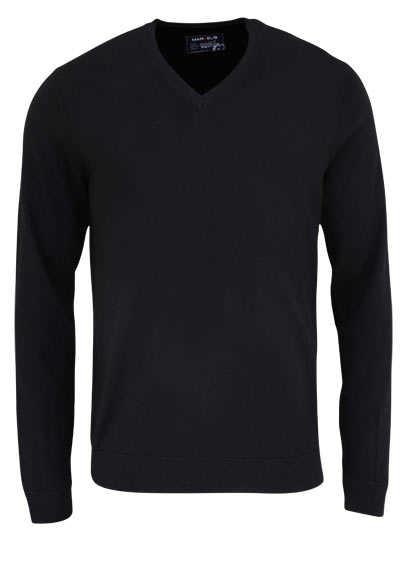 MARVELIS Pullover Langarm V-Ausschnitt aus Merino Wolle schwarz - Hemden Meister