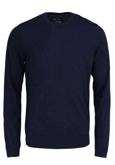 MARVELIS Pullover Langarm Rundhals aus Merino Wolle nachtblau - Hemden Meister