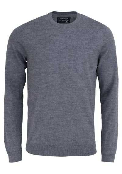 MARVELIS Pullover Langarm Rundhals aus Merino Wolle dunkelgrau - Hemden Meister