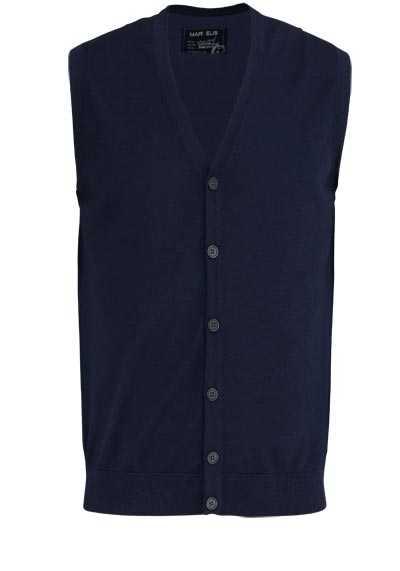 MARVELIS Strickjacke ohne Ärmel mit Knopfleiste nachtblau - Hemden Meister