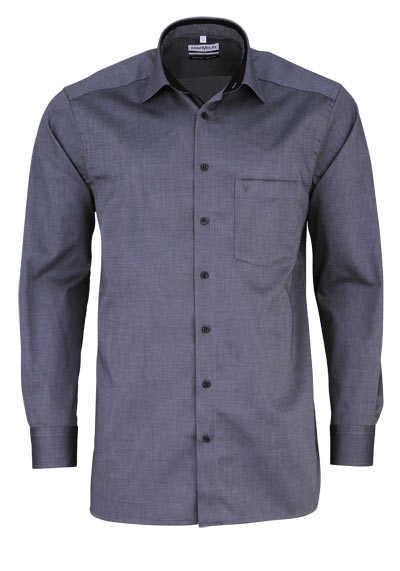 MARVELIS Comfort Fit Hemd Langarm New Kent Kragen Muster schwarz - Hemden Meister