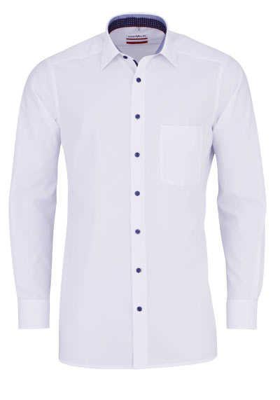 MARVELIS Modern Fit Hemd Langarm New Kent Kragen schwarzer Besatz weiß - Hemden Meister