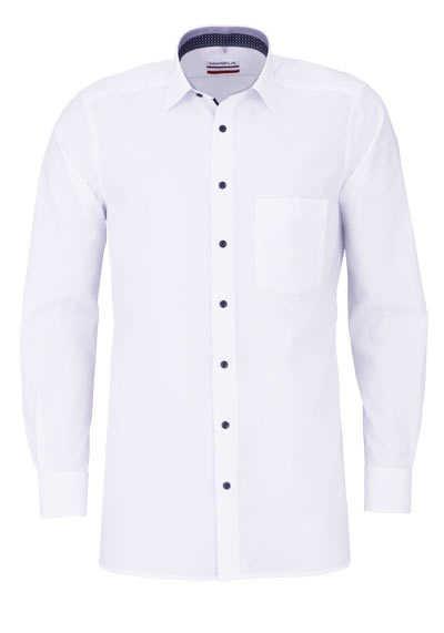 MARVELIS Modern Fit Hemd Langarm New Kent Kragen blauer Besatz weiß - Hemden Meister