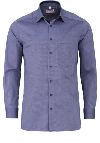 MARVELIS Modern Fit Hemd Langarm New Kent Kragen Muster nachtblau - Hemden Meister