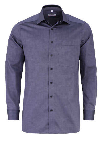 MARVELIS Modern Fit Hemd Langarm New Kent Kragen Muster schwarz - Hemden Meister