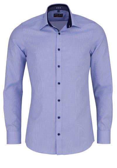 MARVELIS Body Fit Hemd Langarm New Kent Kragen Muster hellblau - Hemden Meister