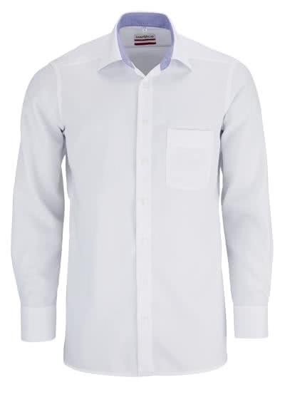 MARVELIS Modern Fit Hemd Langarm mit Brusttasche Struktur weiß - Hemden Meister