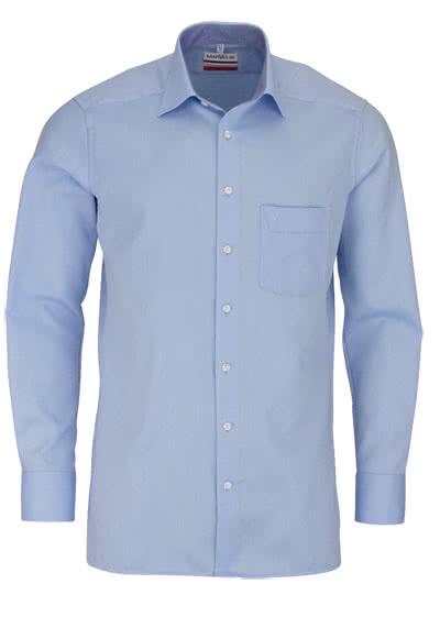 MARVELIS Modern Fit Hemd Langarm mit Brusttasche Struktur hellblau - Hemden Meister