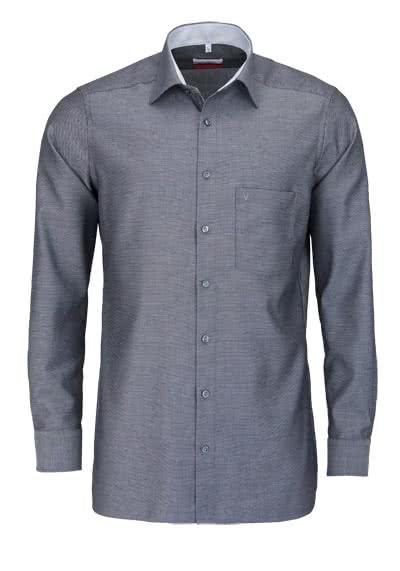 MARVELIS Modern Fit Hemd Langarm mit Brusttasche Struktur schwarz - Hemden Meister