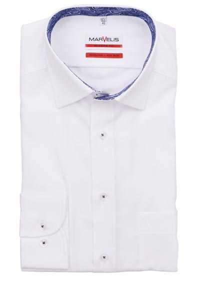 MARVELIS Modern Fit Hemd Langarm New Kent Kragen weiß