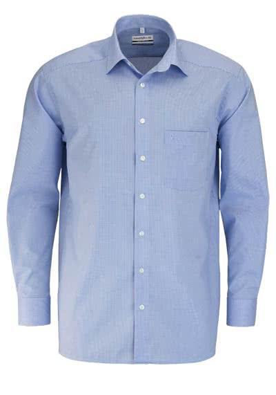MARVELIS Comfort Fit Hemd Langarm New Kent Karo blau