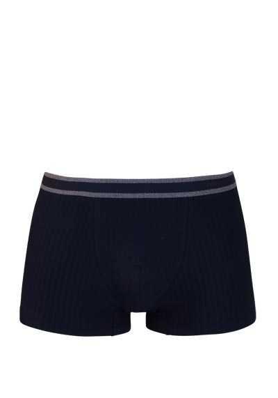 MEY Shorts gestreifter Webgummibund Cotton Stretch dunkelblau - Hemden Meister