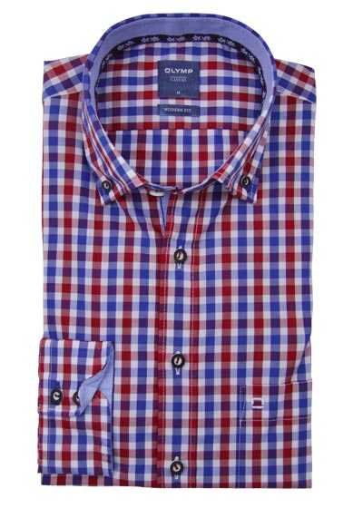 OLYMP Casual modern fit Trachtenhemd Button Down Kragen Karo rot