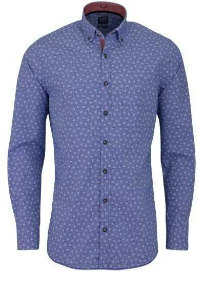 OLYMP Casual modern fit Trachtenhemd Langarm Edelweiß-Muster blau - Hemden Meister
