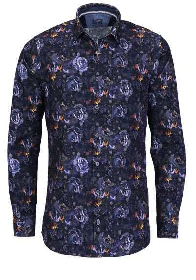 OLYMP Casual modern fit Hemd Langarm Feincord Muster blau - Hemden Meister