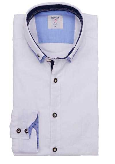 OLYMP Level Five Casual body fit Hemd Langarm Button Down Kragen weiß
