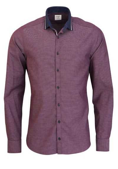 OLYMP Level Five Casual body fit Hemd Langarm Muster rot - Hemden Meister