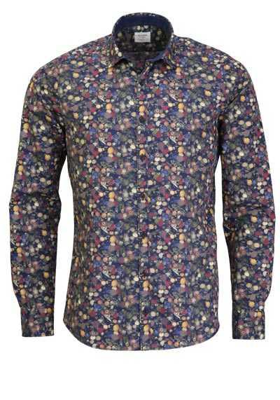 OLYMP Level Five Casual body fit Hemd Langarm Muster blau - Hemden Meister