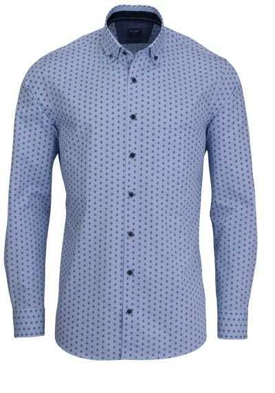 OLYMP Casual modern fit Hemd Langarm Brusttasche Muster blau - Hemden Meister