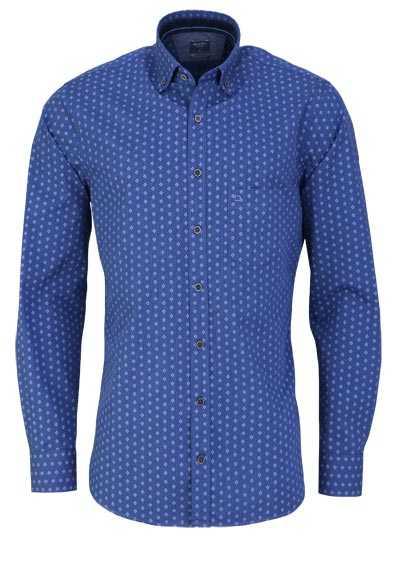 OLYMP Casual modern fit Hemd Langarm Brusttasche Muster dunkelblau - Hemden Meister
