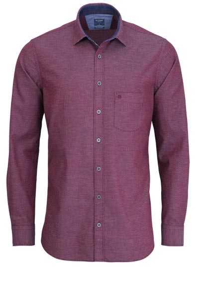 OLYMP Casual modern fit Hemd Langarm New Kent Kragen Muster rot - Hemden Meister