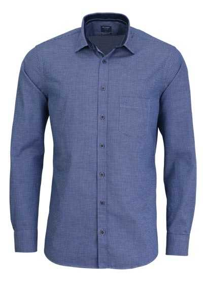 OLYMP Casual modern fit Hemd Langarm New Kent Kragen Muster blau - Hemden Meister