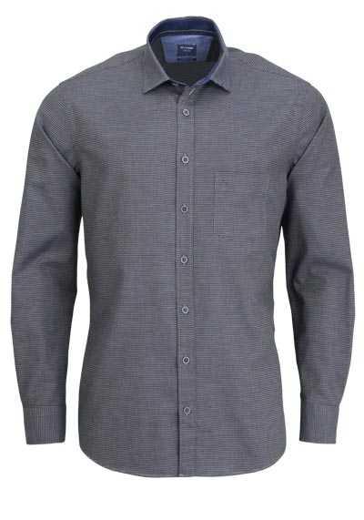 OLYMP Casual modern fit Hemd Langarm New Kent Kragen Muster grün - Hemden Meister