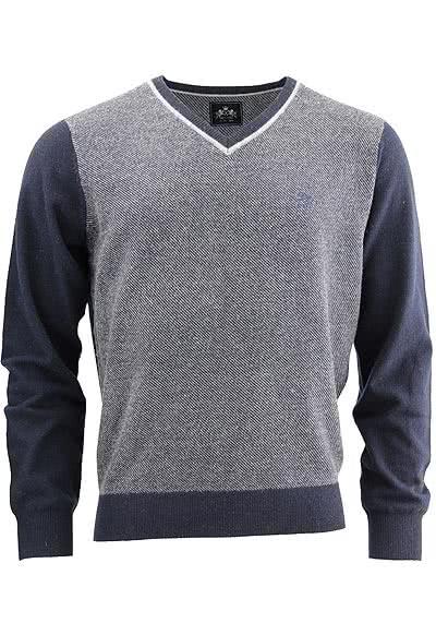OTTO KERN Strickpullover Schurwolle Muster blau/grau 30043/43031/300 - Hemden Meister