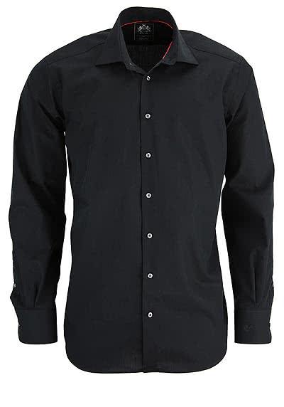 OTTO KERN Hemd Langarm New Kent mit Kragenband schwarz - Hemden Meister