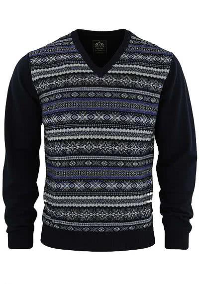 OTTO KERN Pullover V-Ausschnitt Muster dunkelblau 30079/43065/300 - Hemden Meister