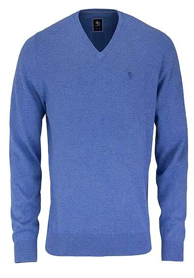 OTTO KERN Pullover V-Ausschnitt Uni rauchblau - Hemden Meister