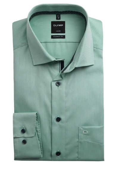 OLYMP Luxor modern fit Herrenhemd extra langer Arm Haifischkragen Muster grün