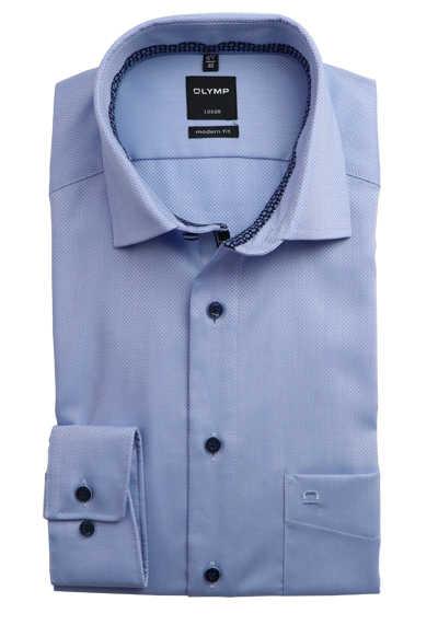 OLYMP Luxor modern fit Herrenhemd Langarm Haifischkragen Muster hellblau