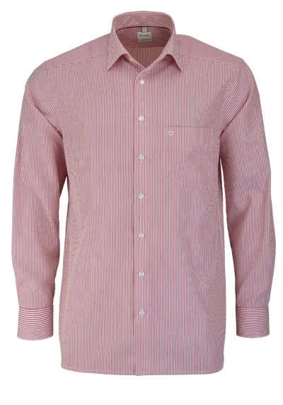 OLYMP Luxor comfort fit Hemd extra langer Arm Streifen rot - Hemden Meister