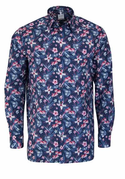 OLYMP Luxor comfort fit Hemd extra langer Arm Muster blau - Hemden Meister
