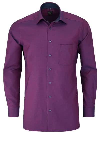 OLYMP Luxor modern fit Hemd extra kurzer Arm Muster rot - Hemden Meister