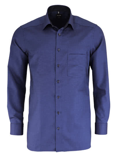 OLYMP Luxor modern fit Hemd extra kurzer Arm Muster dunkelblau - Hemden Meister
