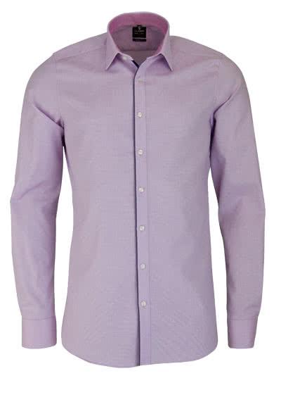 OLYMP Level Five body fit Hemd Langarm New Kent Kragen Muster rosa - Hemden Meister
