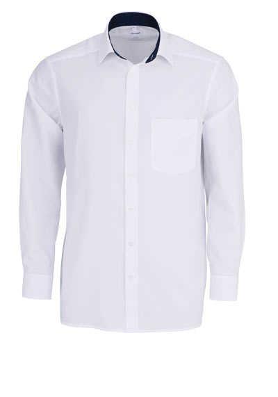 OLYMP Luxor comfort fit Hemd Langarm New Kent Kragen Muster weiß - Hemden Meister