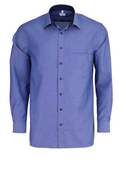 OLYMP Luxor comfort fit Hemd Langarm New Kent Kragen Muster blau - Hemden Meister