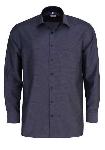 OLYMP Luxor comfort fit Hemd Langarm New Kent Kragen Muster anthrazit - Hemden Meister